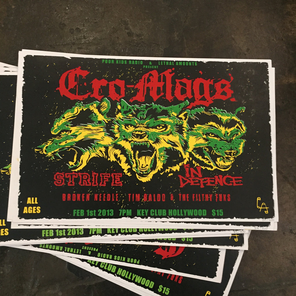Cro-Mags Screen Printed Concert Poster, Limited Edition
