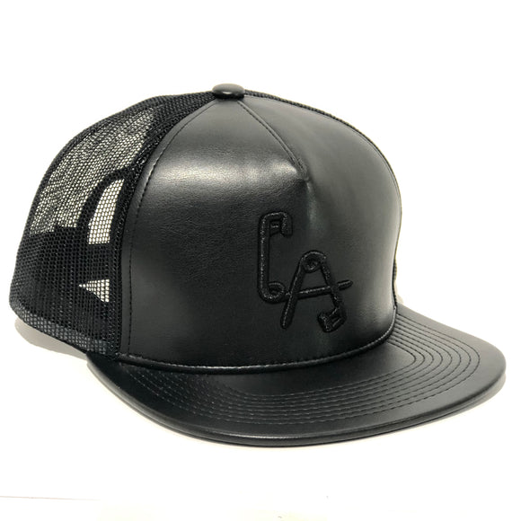 LA Safety Pins Snapback cap - BLACK LETH'R / MESH