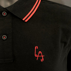 Lethal Amounts safety pins polo shirt - RED/BLACK