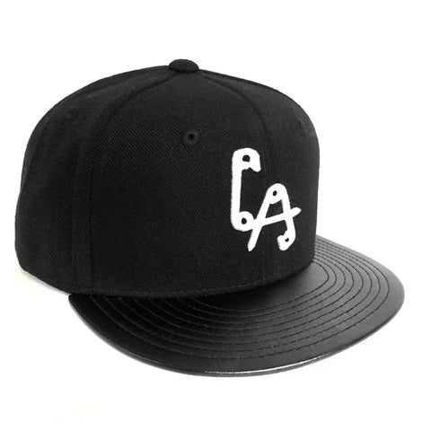 LA Pins Snapback cap - Black w/ Leather Bill