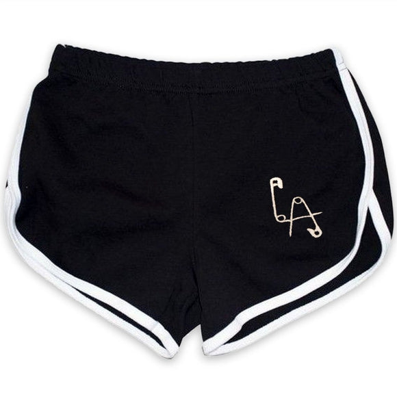 LA Pins Embroidered Booty Running Shorts