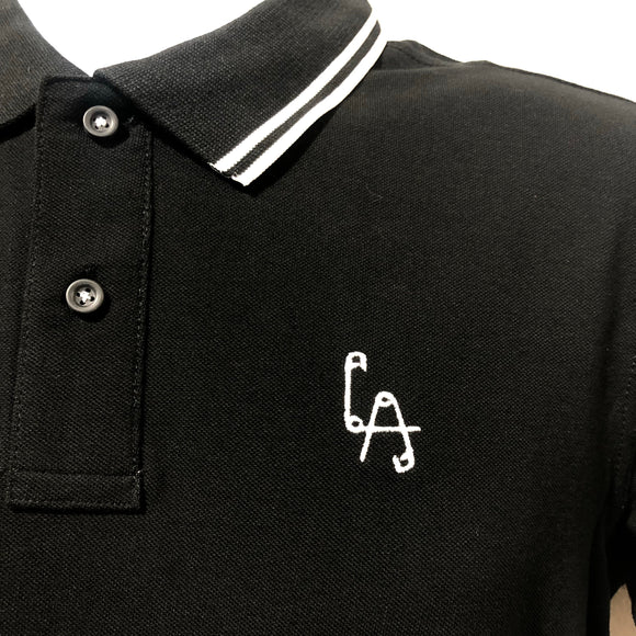 Lethal Amounts safety pins polo shirt - BLACK/WHITE