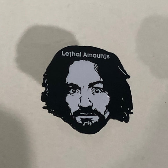 Charles Manson exhibit enamel pin
