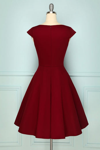 Mørkerød Plus Størrelse Swing Dress