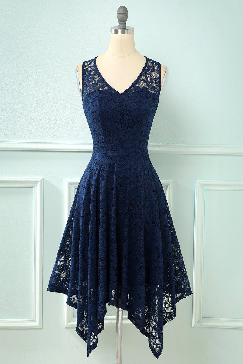 Indlæs billede til gallerivisning Asymmetrisk Lace Formel Party Dress
