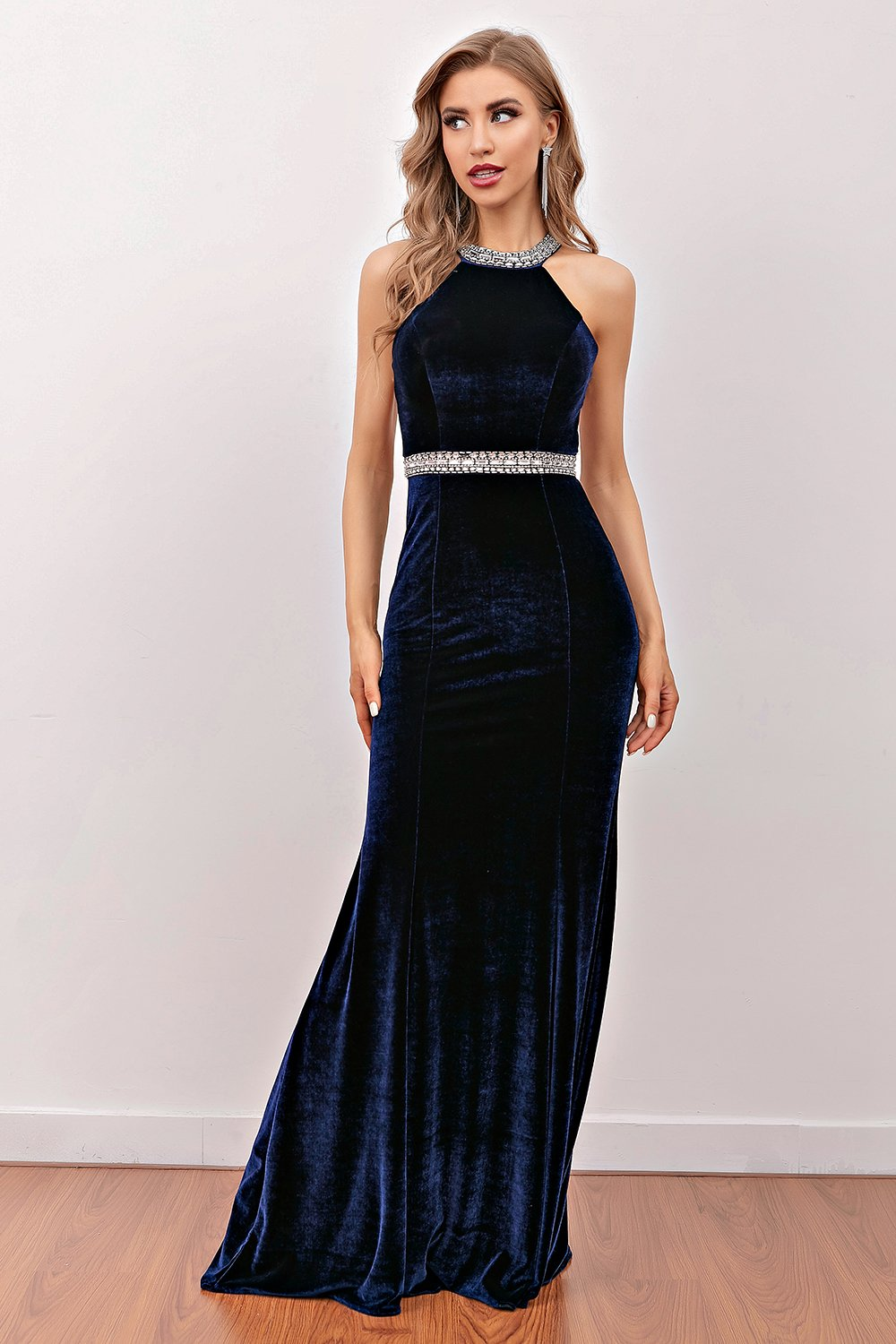 Navy Havfrue Fløjl Lang Prom Dress
