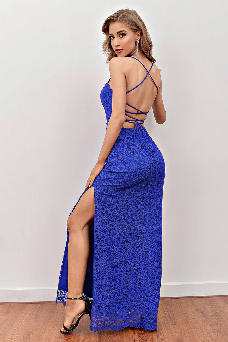 Indlæs billede til gallerivisning Royal Blue backless lang blonde prom kjole