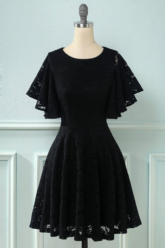 Batwing Ærmer Lace Dress