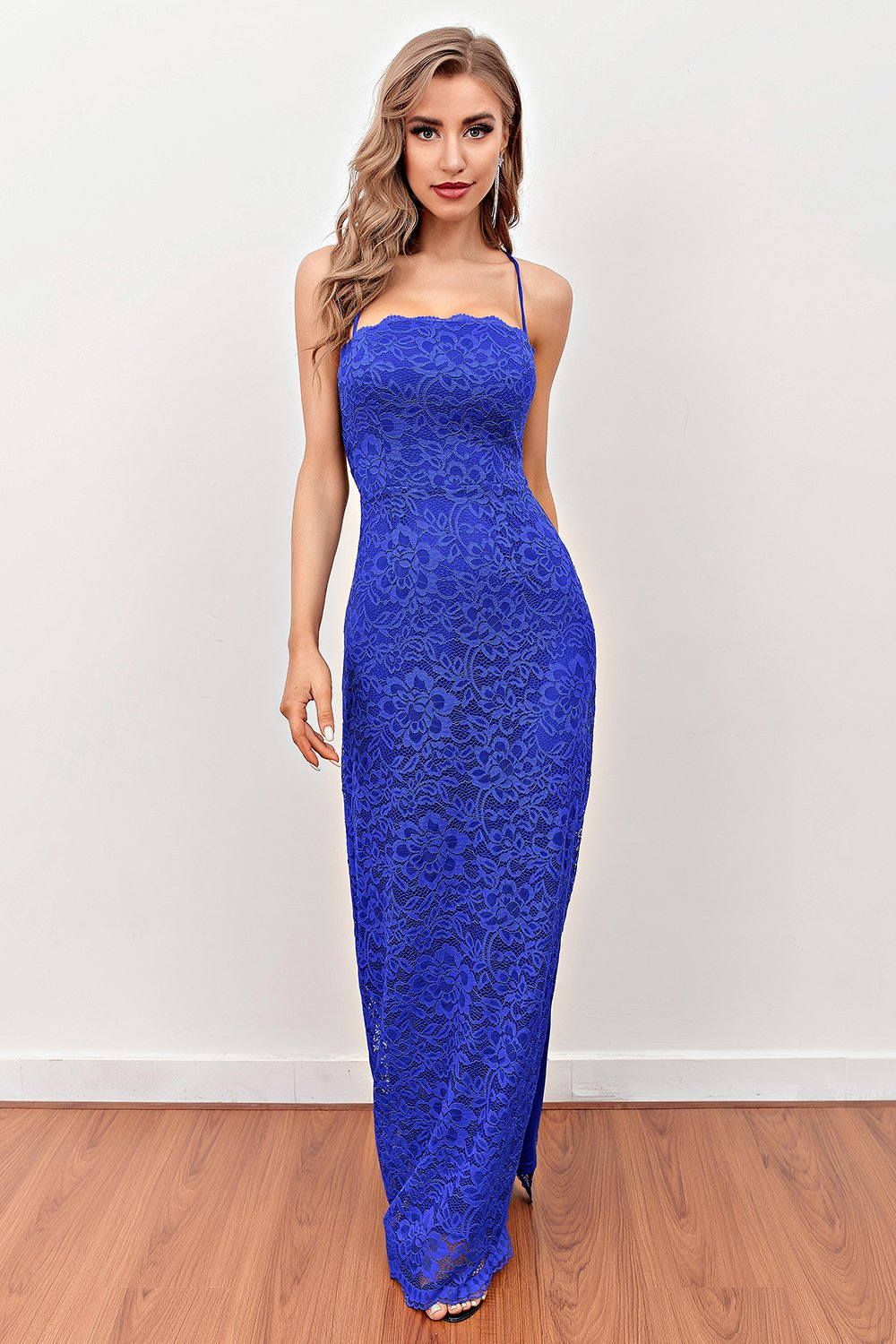 Royal Blue backless lang blonde prom kjole