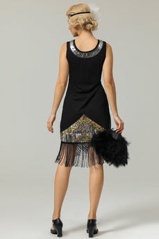 Sort 1920s Pailletter Fringe Flapper Kjole