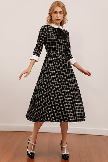 Vintage Sort Plaid Midi Svinge Kjole