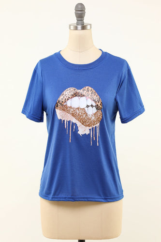Læber Trykt Royal Blue Round Neck T-shirt