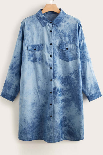 Blå Plus Size Tie Dye Denim Bluse