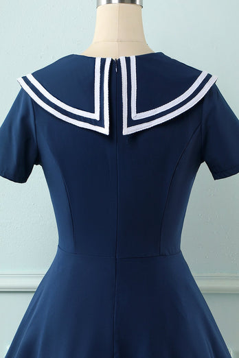 Navy 1950'erne Swing Dress