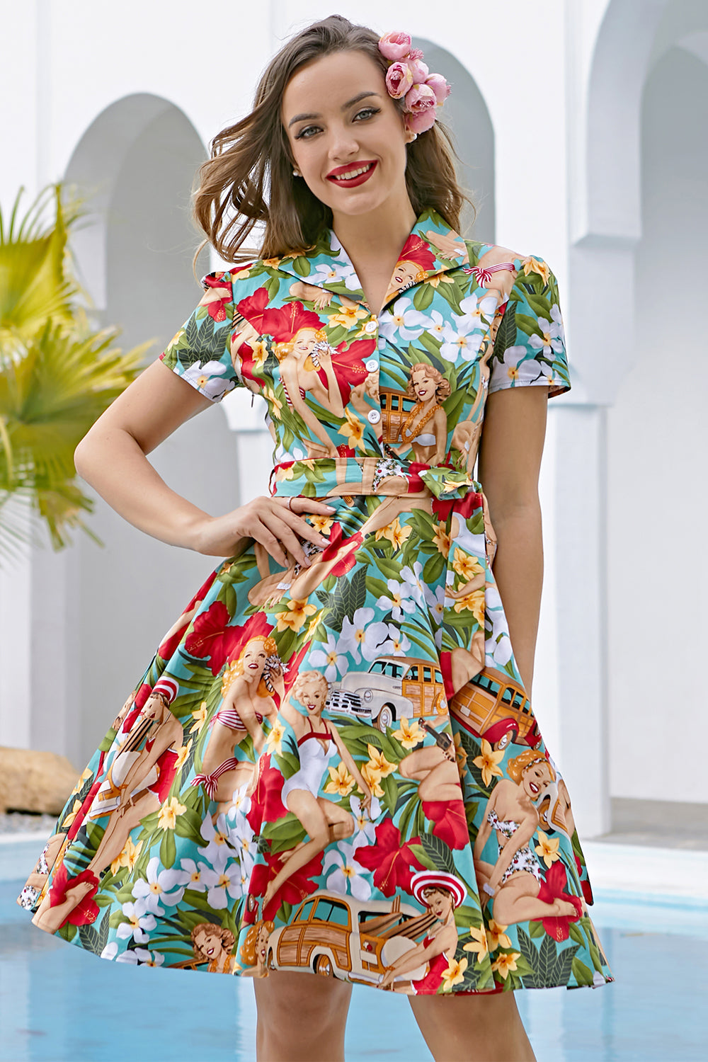 Vintage Print 1950'erne Swing Dress