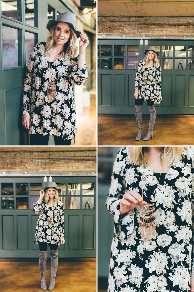 Goldie's Floral Tunic As Seen on Blogger Jalynn Schroeder from The Red Closet Diary Fashion Blog