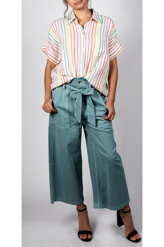 It Girl Button Front Cropped Trouser
