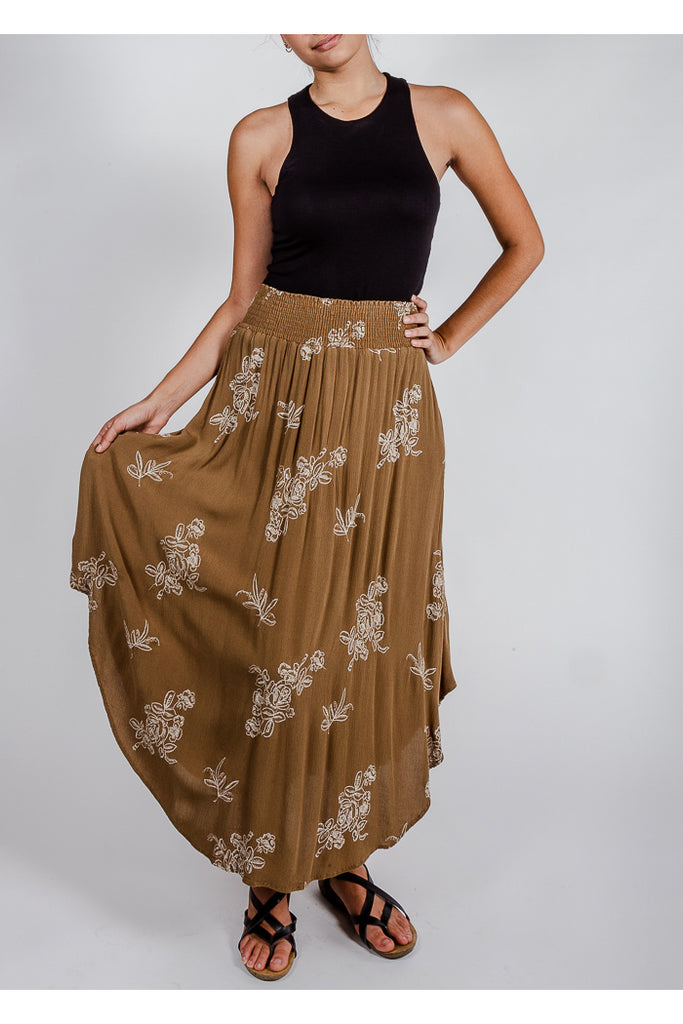 Spring Flowers Embroidered Midi Skirt