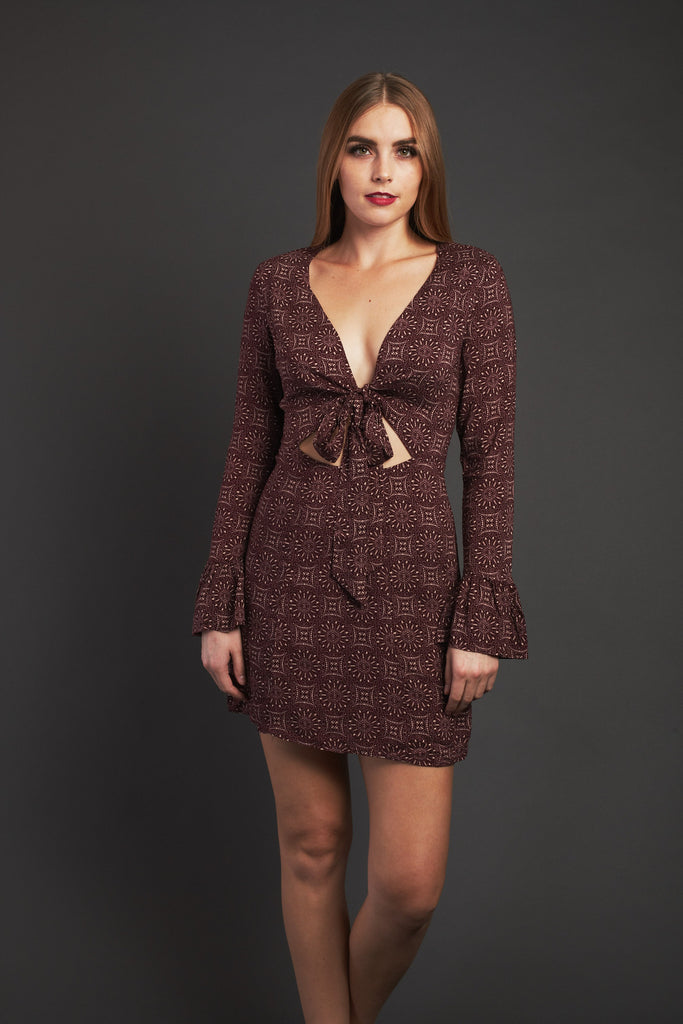 Prints Charming Tie Front Dress In Plum