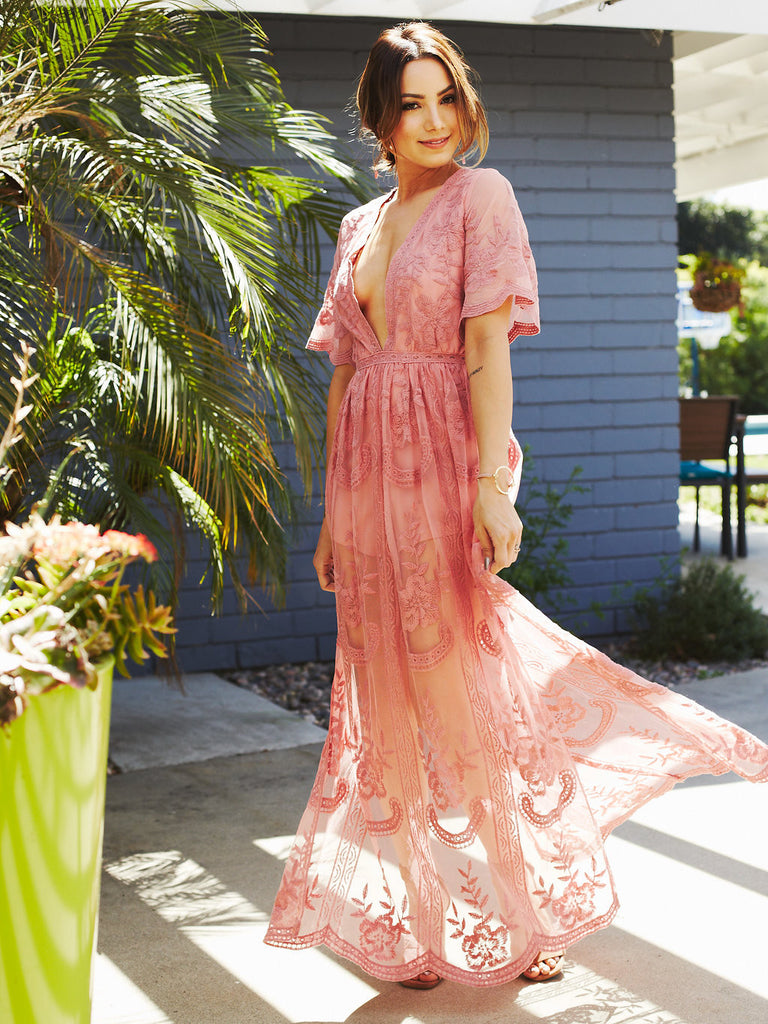 Butterfly Lace Maxi Romper