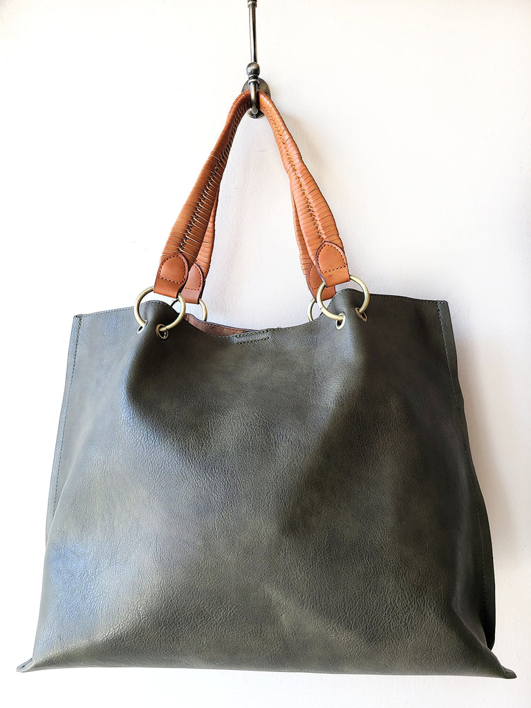 Come Away With Me Large Multi Use Tote In Olive
