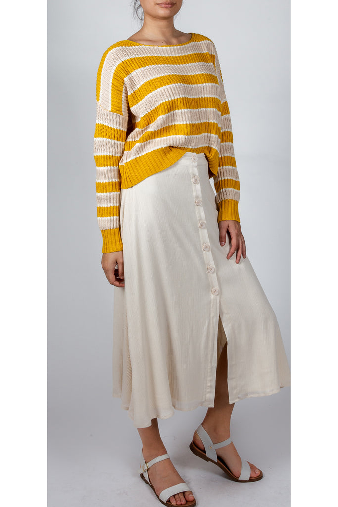 Soft Cotton Button Front Skirt In Ivory Sand