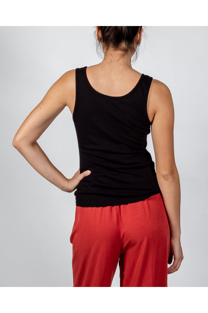 Perfect Fit and Feel Summer Cotton Tank In Poppy and Black