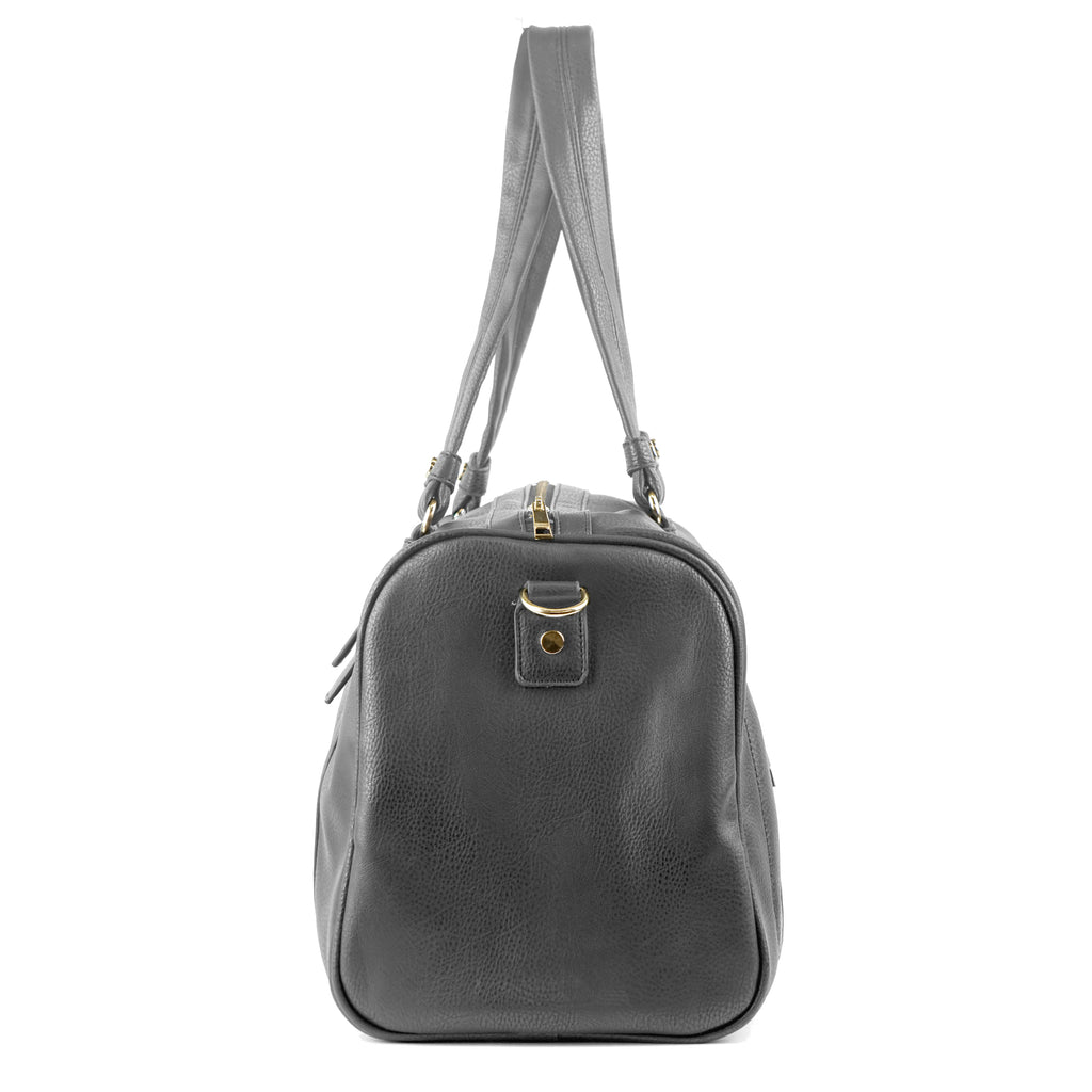 Vegan Leather Travel Tote in Charcoal