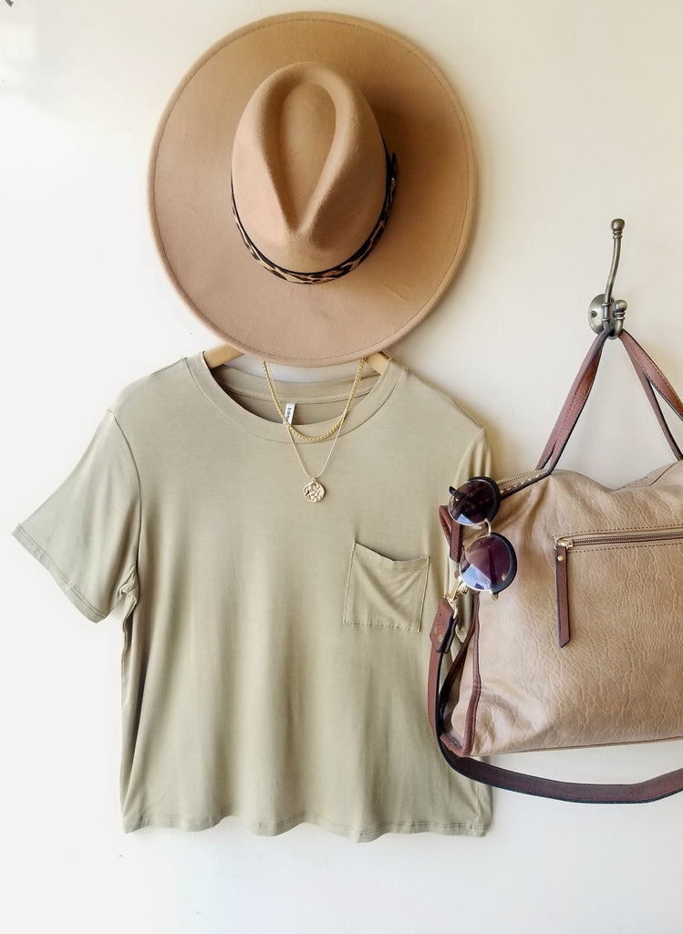 Must Have Box Crop Pocket Tee In Soft Olive