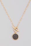 Natural Stone Circle Toggle Chain Necklace In Gold/Black