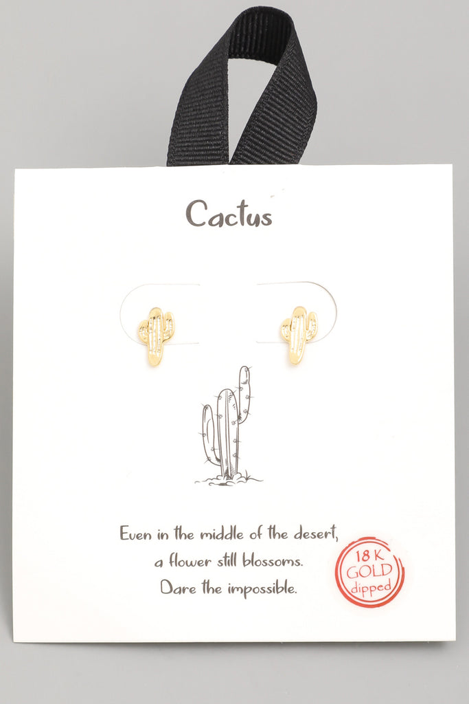 18K Gold Dipped Cactus Stud Earring