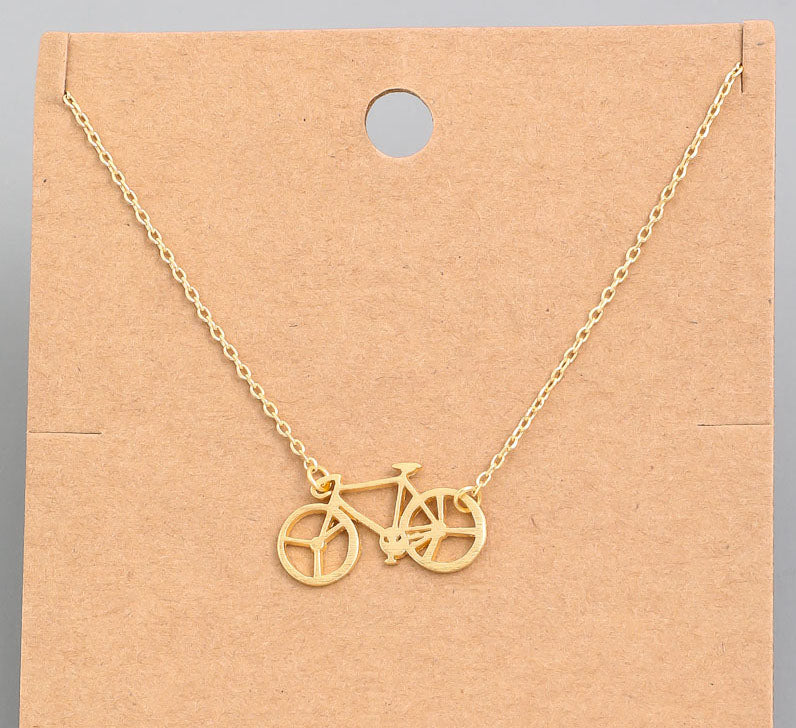 Bicycle Dainty Necklace In Gold