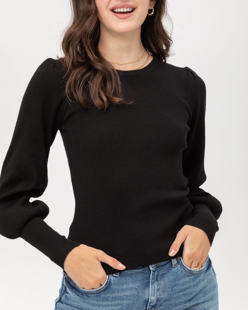 Madison Knit Sweater Top In Classic Black