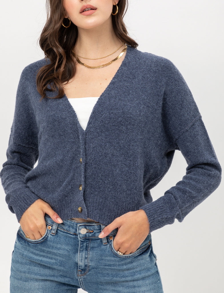 Yours Truly Cardigan in Blue Grey