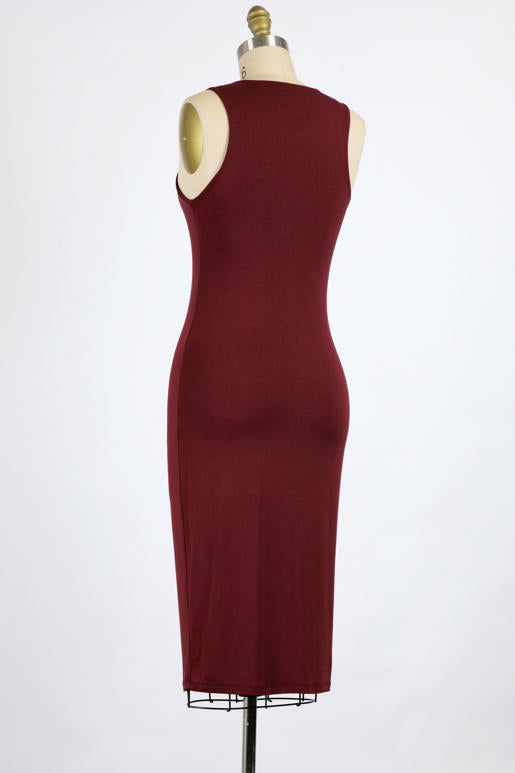 Must Have Double Layer BodyCon Midi Dress 3 Colors (Black, Wine, Marsala)