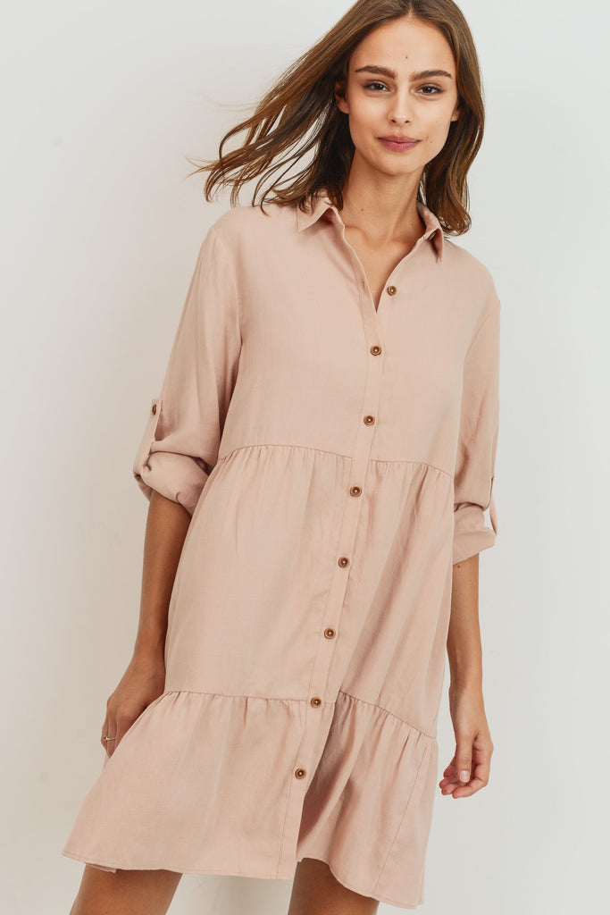 East Side Casual Cool Button Front Dress in Petal