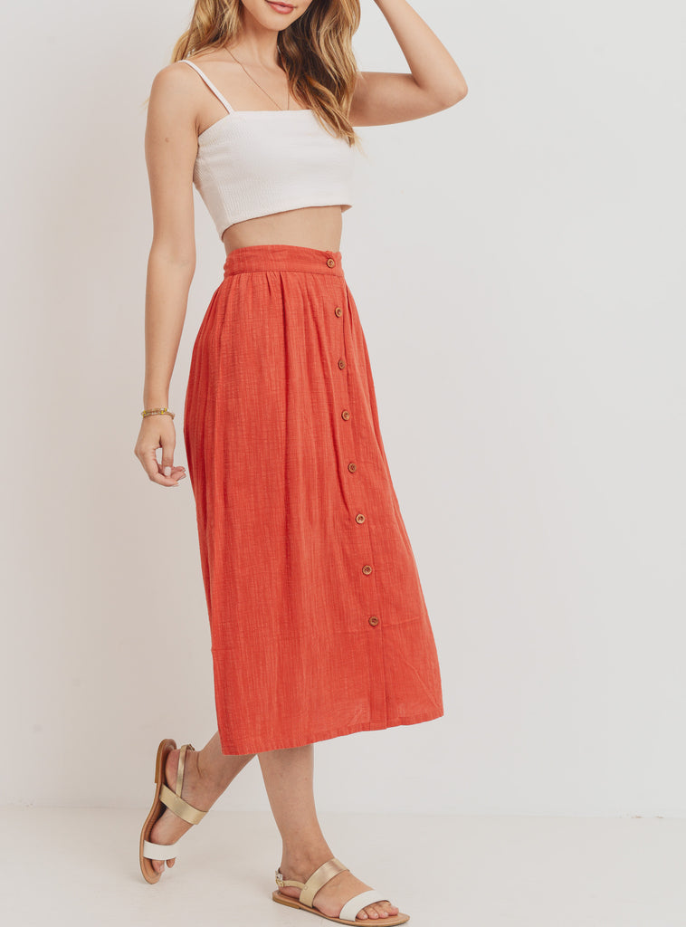 Hepburn Linen Button Front Skirt in Coral Red
