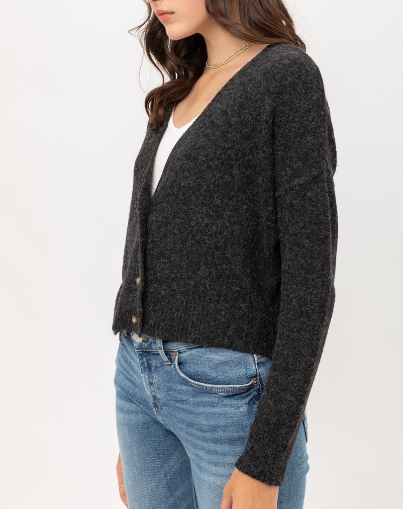 Yours Truly Cardigan in Charcoal