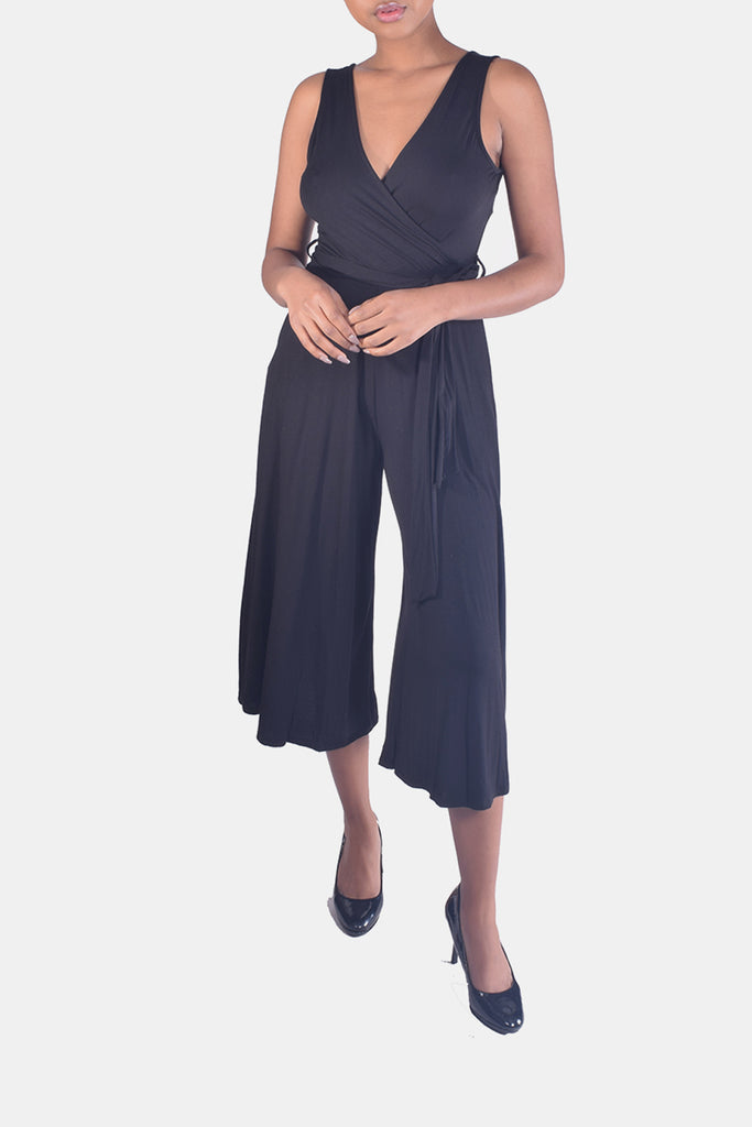 Exquisite Ultra Soft Jersey Wrap Jumpsuit in Midnight