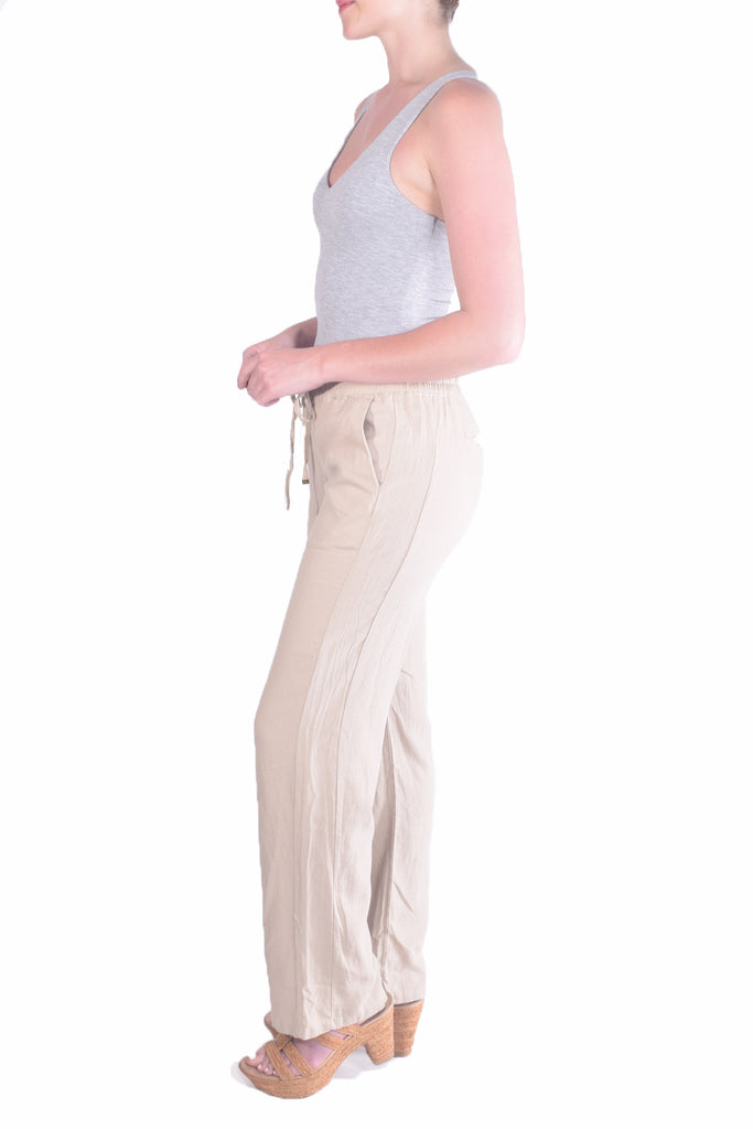Classic Linen Drawstring Pants in Natural Beige