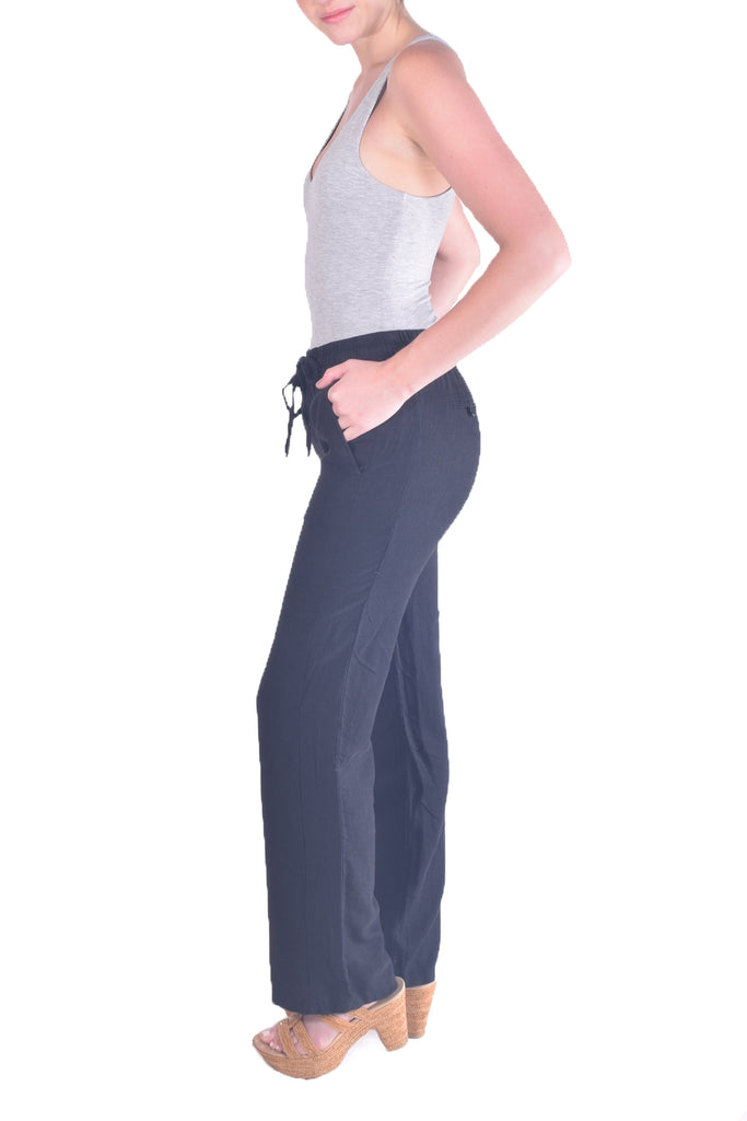 Classic Linen Drawstring Pants in Black