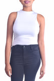 Ultra Soft High Neck Crop Top in Light Grey