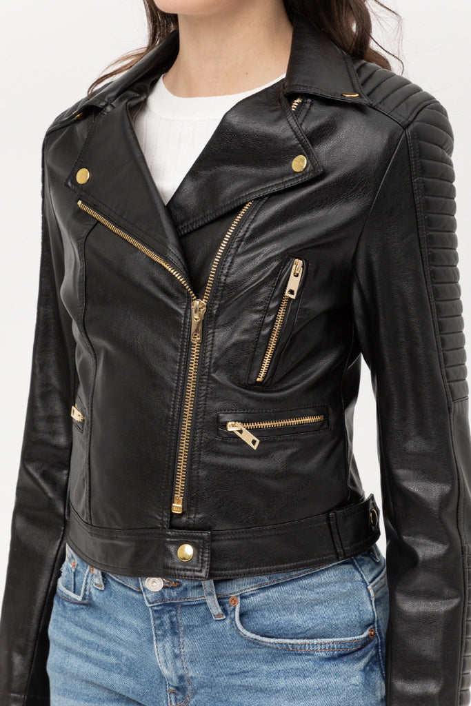 On The GO Vegan Leather Moto Jacket In Black