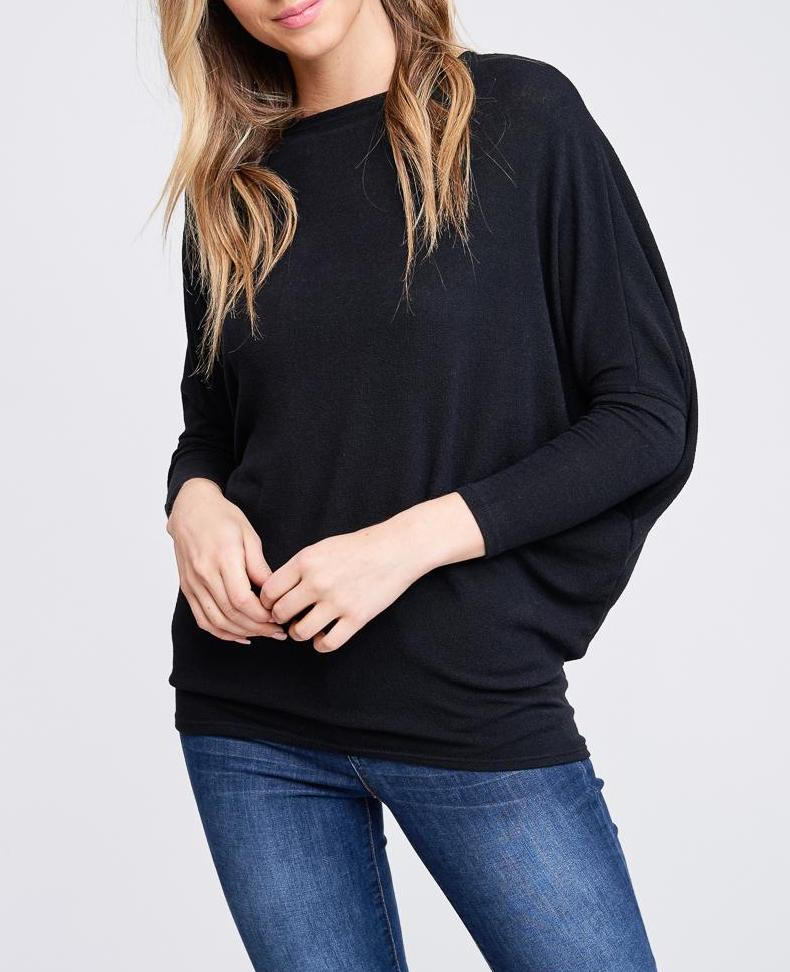 24/7 Classic Dolman Sleeve Top In Black