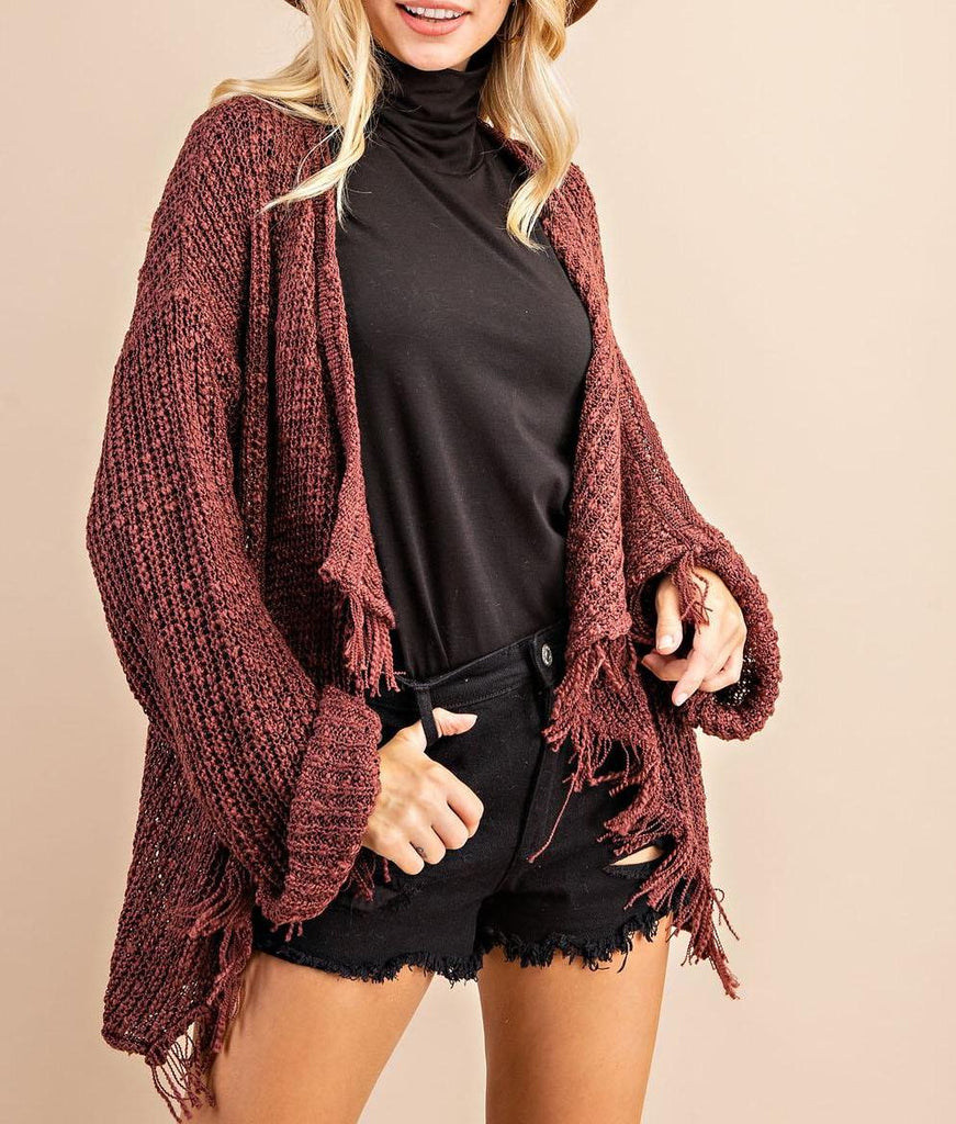 Classic Fringe Poncho Sweater In Merlot