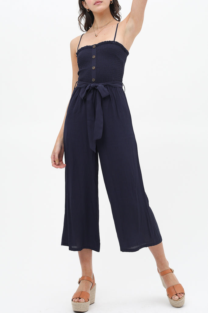 Feeling Free Denim Jumpsuit In Soft Midnight