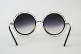 Wireframe Enameled Sunglasses: Black/Silver