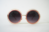Wireframe Round Enameled Sunglasses: Rose/Gold
