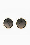 Wireframe Enameled Sunglasses: Black/Gold