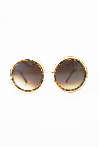 Modern Cateye Sunglasses: Tortoise/Gold